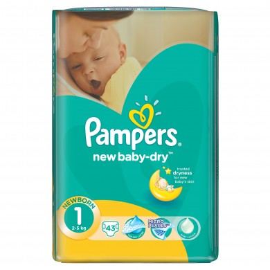 Pampers New baby-dry 1 (2-5кг.) 43бр.