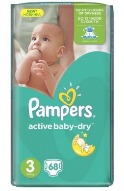 Pampers Activ Baby 3 (4-9кг.) 68бр.
