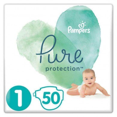Pampers Pure Protection Пелени 1, 2-5кг., 50бр.