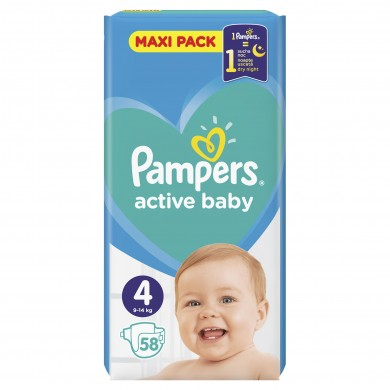 Pampers Activ Baby 4 (7-18кг.) 58бр.